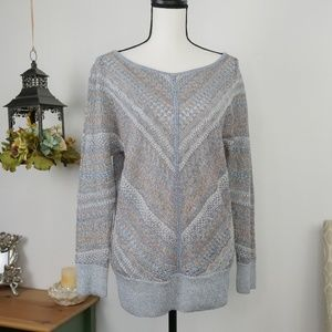 WHBM Shimmer Knit Sweater Scoop Neck Long Sleeves